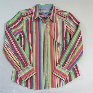 Tommy Hilfiger Multicolored Striped Button Top XL